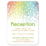 Video game inspired raining digital computer pixels Bar Mitzvah reception card