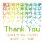 Video game inspired raining digital computer pixels Bar Mitzvah favor tags