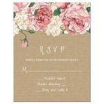 Rustic pink peony flowers wedding reply card