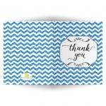Trendy Blue Glitter Chevron Blank Thank You Card