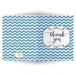Trendy Blue Glitter Chevron Blank Thank You Card