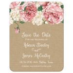 Rustic pink peony floral save the date flat card