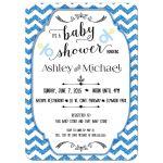 Trendy Blue Glitter Chevron Baby Shower Invitation