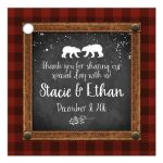 Best rustic winter woodland wedding favor tag with bears and snow