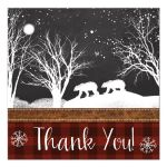 Best rustic winter woodland wedding favor tag with bears, trees, branches and snow