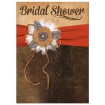 Great shabby chic orange and brown bridal shower invitation with burlap, leather, linen, metal flowers, and a pearl jewel