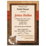 Best bridal shower invite with brown leather, ivory linen, orange ribbon, burlap and metal flowers, and pearl jewels.