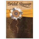 Great shabby chic yellow and brown bridal shower invitation with burlap, leather, linen, metal flowers, ribbon and a pearl jewel