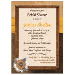 Best bridal shower invite with brown leather, ivory linen, yellow ribbon, burlap and metal flowers, and pearl jewels.