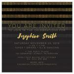 Stylish Glam Gold & Black Stripes Birthday Party Invites