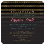 Glam Xtra Black Gold Stripes Birthday Party Invitation
