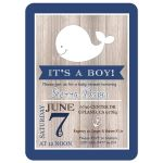 Navy Blue and White Rustic Whale Nautical Baby Shower Invitation
