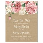 Rustic pink peony save the date refrigerator magnet