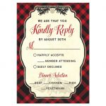 Plaid Mountain Hipster Wedding Response Cards front
