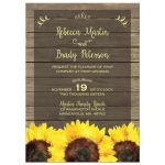 Rustic yellow sunflowers and wood wedding invitation
