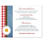 Denim, Daisy, and Plaid Wedding Suite Accommodations Direction Card