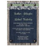 Reception Only Invitations - Denim Wood Country Rustic