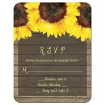 Rustic wood plank and watercolor sunflowers wedding RSVP card