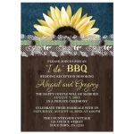 Reception Only Invitations - Sunflower Denim Wood Lace I Do BBQ