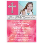 Best pink first holy communion invitation for a girl