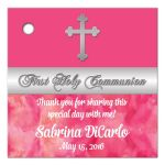 Best first holy communion favor tag with silver cross