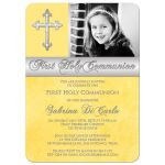 Best yellow first holy communion invitation with photo template