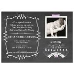 Chalkboard Typography Baby Girl Photo Template Sip And See Invitation