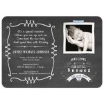 Chalkboard Typography Baby Boy Photo Template Sip And See Invitation