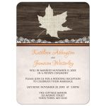 Reception Only Invitations - Rustic Autumn Wood Leaf Orange