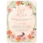 Sweet Woodland Floral Sip & See Party Invitations front