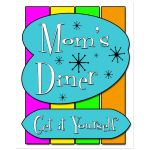 Colorful 8x10 Retro Inspired Mom's Diner Wall Art