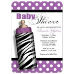Baby Shower Invitations - Zebra Print Baby Bottle Purple
