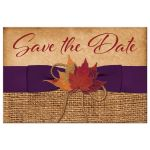 Great rustic burlap save the date postcard with purple ribbon and orange autumn leaves