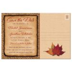 Best autumn wedding save the date postcards with autumn leaves and burlap