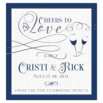 "Navy blue and gray personalized ""Cheers to Love"" wedding wine label"