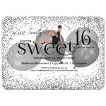 Sparkly Silver Glitter And Balloons Sweet 16 Birthday Party Invitation
