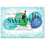 Teal Sparkly Glitter With Colorful Balloons Sweet 16 Party Invitation