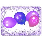 Purple Sparkly Glitter With Colorful Balloons Sweet 16 Party Invitation