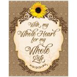 Rustic sunflower, burlap, lace and wood wedding sign art print