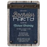 Bachelor Party Invitations - Denim Wood Leather Rustic