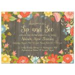 Rustic floral sip and see baby shower invitation