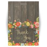 Rustic floral thank you folded cards