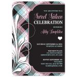 Sweet 16 Party Invitations - Pink Blue & Black Plaid Flourish