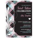 Sweet 16 Party Invitations - Pink Blue & Black Plaid Flourish