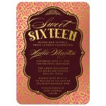 Gold & PInk Sweet 16 Party Invitations front