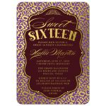 Purple & Gold Leopard Print Sweet 16 Party Invitations front