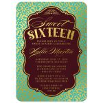 Aqua Blue & Gold Leopard Print Sweet 16 Party Invitations front
