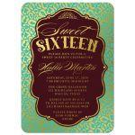 Aqua Blue & Gold Leopard Print Sweet 16 Party Invitations front