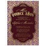 Purple & Gold Quinceañera Invitations front