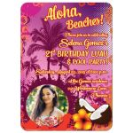 Best 21st birthday party luau invitation with photo